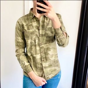 Charlotte Russe Army Camo Button Up